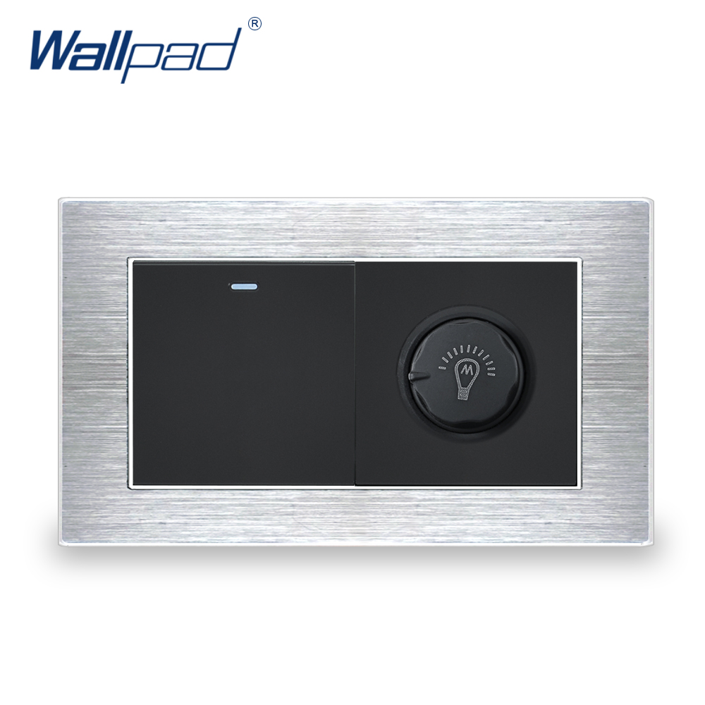 1 Gang 2 Way Switch With Dimmer Wallpad Luxury Wall Light Switch Satin Metal Panel With Silver Border 146*86mm