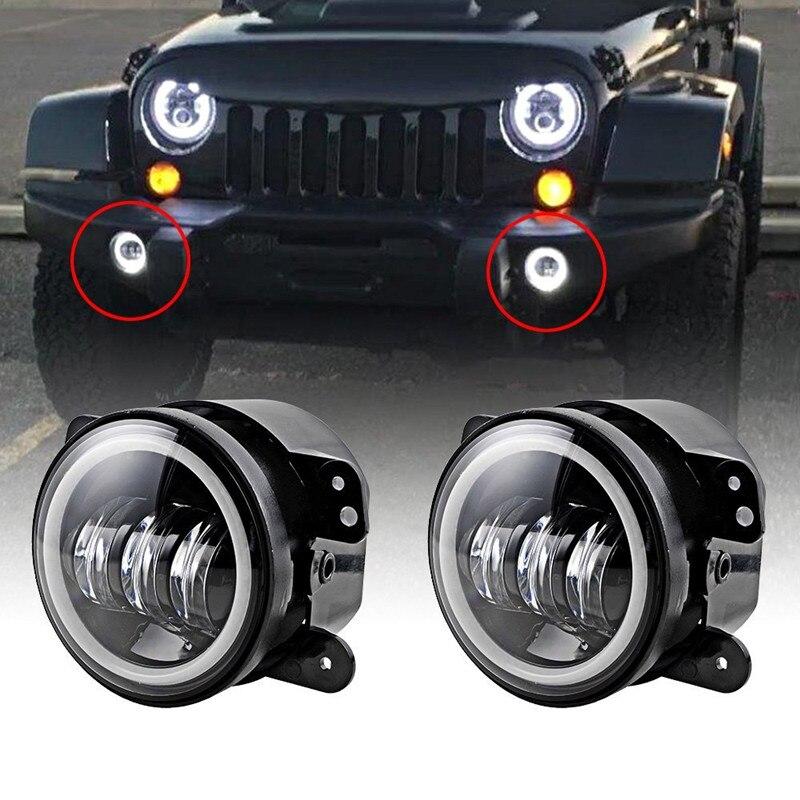 Pair/2PCS 4 INCH 60W How power LED fog lights Halo Ring Angel eyes for Jeep Wrangler 97-16 JK TJ LJ ATV led fog lamp
