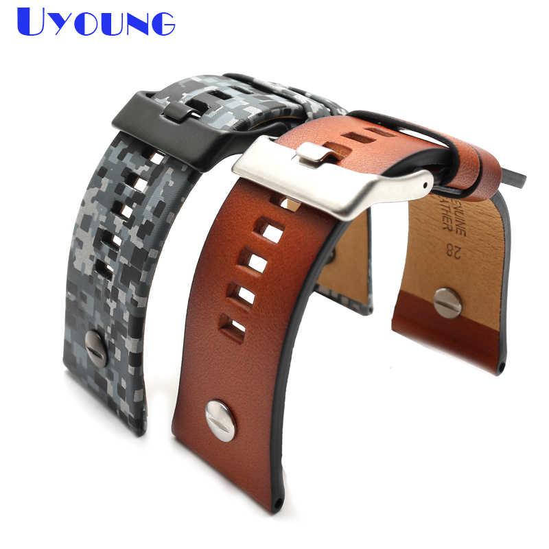 Correa de reloj de cuero genuino de calidad camuflaje | pulsera de color marrón correa de reloj diesel de 28mm con pulsera de uñas correa de cinturón