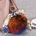 2017 Fox Fur Ball Key Chains Pom Pom Gift Ornaments Pendant Key Chain Car Bag Buckle Colorful Grosgrain