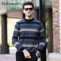 Striped O Neck Collar Long Sleeves Spring Winter 100 Wool Pullovers Caridgan For Man Sweater Inner