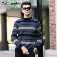 Striped O-Neck Collar Long Sleeves Spring Winter 100% Wool Pullovers Caridgan For Man Sweater Inner Smart Casual Clothing MSW054