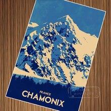 Esquí viaje Francia Chamonix Propaganda Retro Vintage Kraft afiche decorativo DIY pared lienzo adhesivo hogar carteles para Bar Decorati
