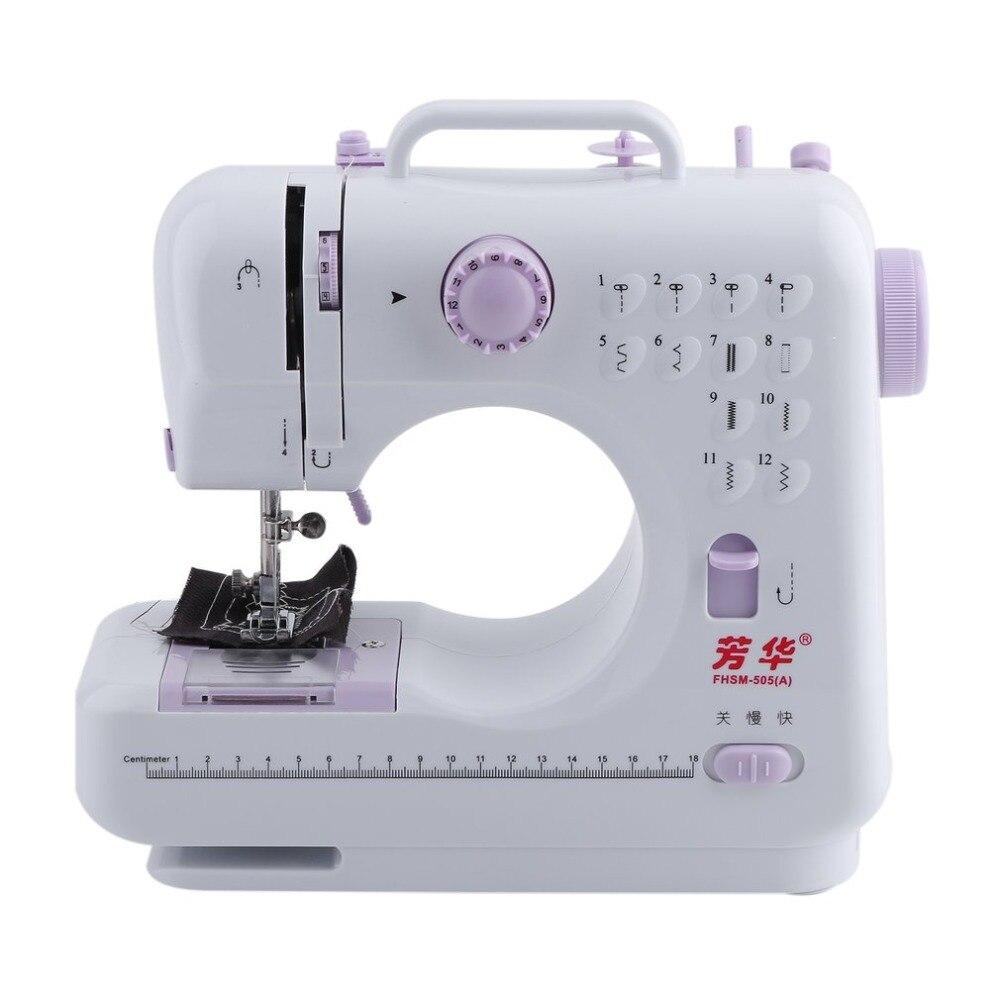 Настольная портативная швейная машина с двойной резьбой 12 предустановленных стежков мини бытовая швейная машина 505A Лапка