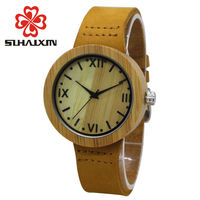 Rome digital leather bamboo wooden quartz watches women bracelet quartz watch with brand casual vintage feman.jpg 200x200