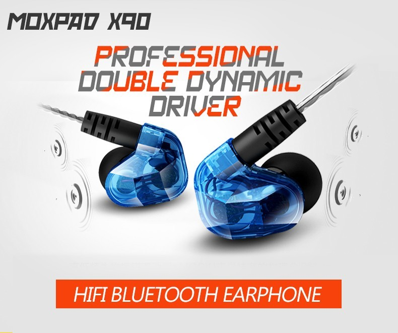 Original Moxpad X90 Dynamic <font><b>Dual</b></font> <font><b>Drivers</b></font> Wireless <font><b>Bluetooth</b></font> 4.1 Hifi Earphone Sport Running Ecouteur Headset Studio with Mic