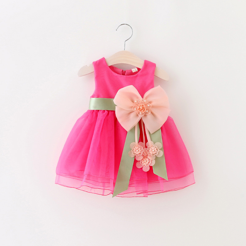 DreamShining Summer Baby Girl Dress Bow Floral Kids Clothes Sleeveless Brithday Party Girls Princess Dresses Ball Gown