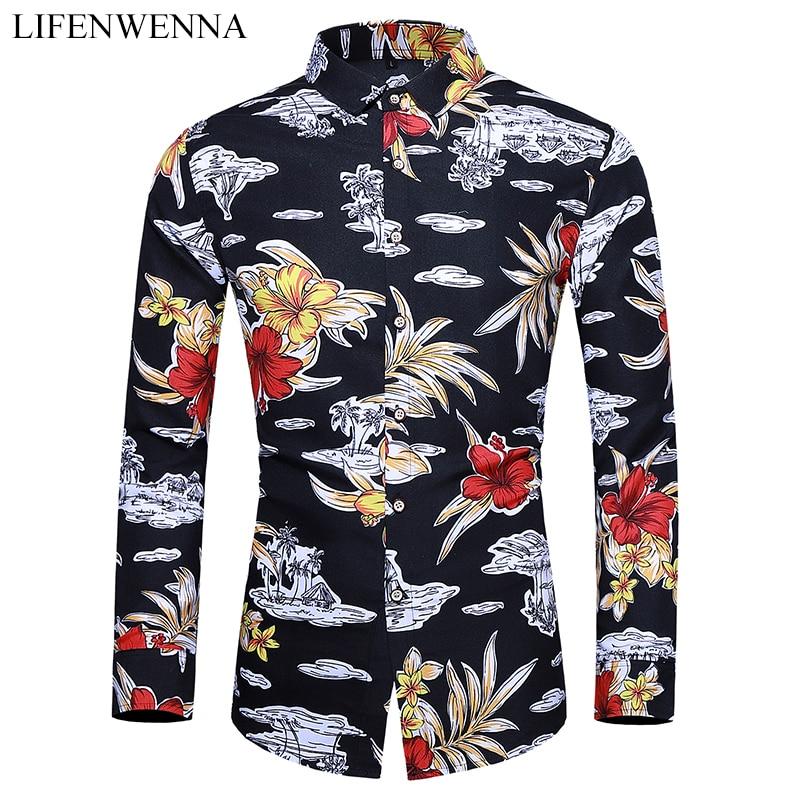 New Autumn Men's Floral Shirts Casual Button Down Long Sleeve Hawaiian Shirt Big Size 6XL 7XL Fashion Printed Business Shirts