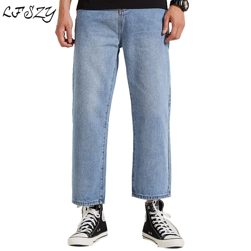 Jeans Men 2019 Spring New trend Loose jeans Men's Streetwear Fashion Large size Straight Blue jeans More Size 28-36(China)