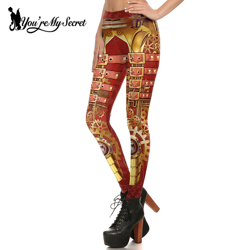 [You're My Secret] Fashion Retro Vintage Steampunk Design Print Jeggings Leggins Women Gears of War Cosplay Leggings Wholesalers