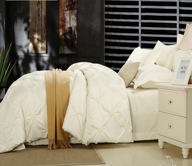 Beige green gray Washed silk Cotton luxury 4pcs Bedding Set King Queen Size Duvet Cover set Sheet Pillowcases set home textiles