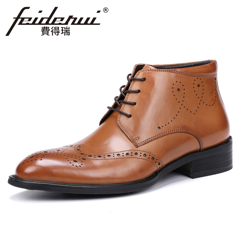 New Arrival Genuine Leather Breathable Mens High-Top Ankle Boots Round Toe Handmade Cowboy Riding Brogue Shoes For Man YMX514New Arrival Genuine Leather Breathable Mens High-Top Ankle Boots Round Toe Handmade Cowboy Riding Brogue Shoes For Man YMX514