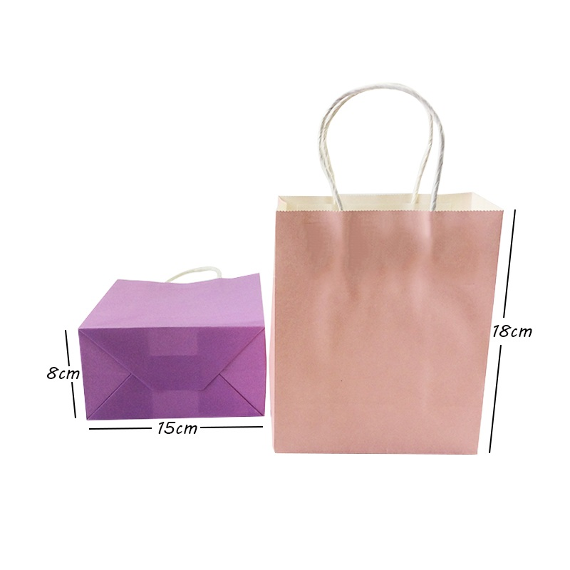 For Handles Paper Wedding Jewelry Colorful Small 18x15x8cm Lot Christmas Wholesale 40PCS Party Birthday Shops Kraft With Bag