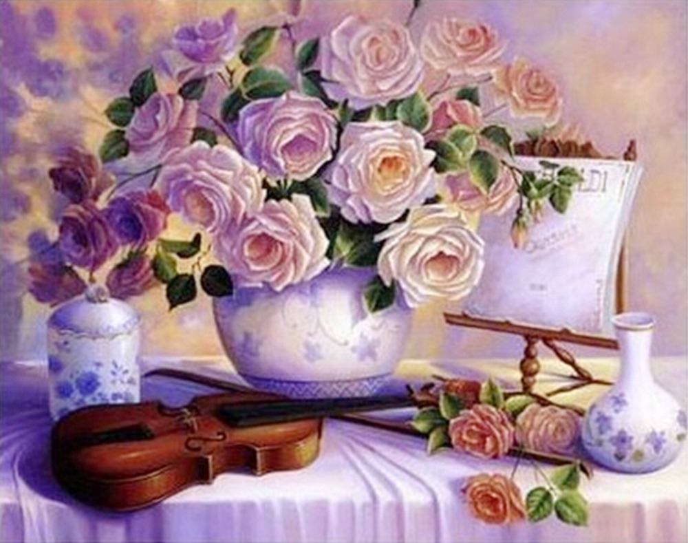 Sweet Life Diamond Painting Beautiful Flowers And Violin Embroidery