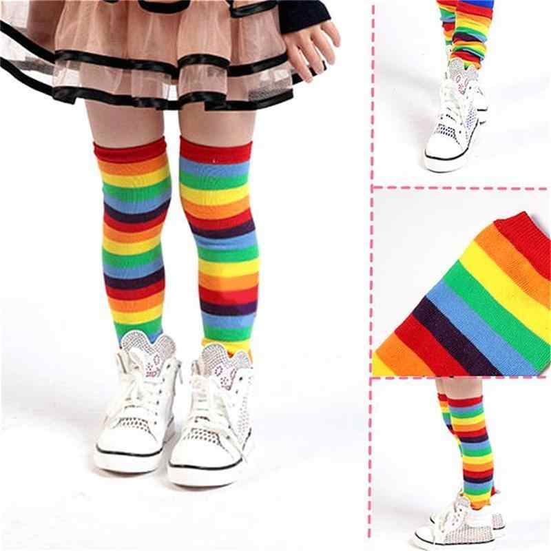 2acef6041 Baby Children's Rainbow Leg Warmers Socks Striped Autumn Winter Knee Leg  Covers