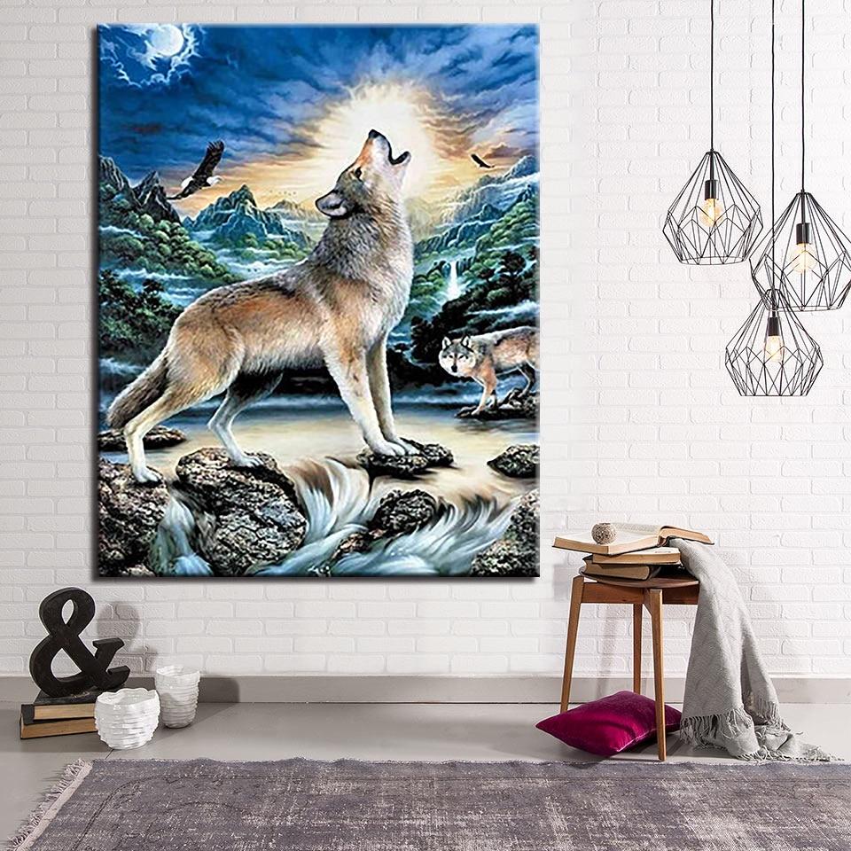 US $8 77 OFF Diy Lukisan Oleh Nomor Kit Mewarnai Serigala Me Ong Di Bulan Minyak Gambar Dinding Seni Tangan Cat Hewan Kanvas Dekorasi