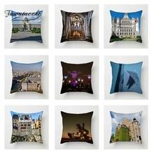 Fuwatacchi European Scenic Cushion Cover Castle Windmill London Eye Throw Pillow Cover Decorative Sofa Pillow Case Pillowcase eye pattern back cushion cover throw pillow case