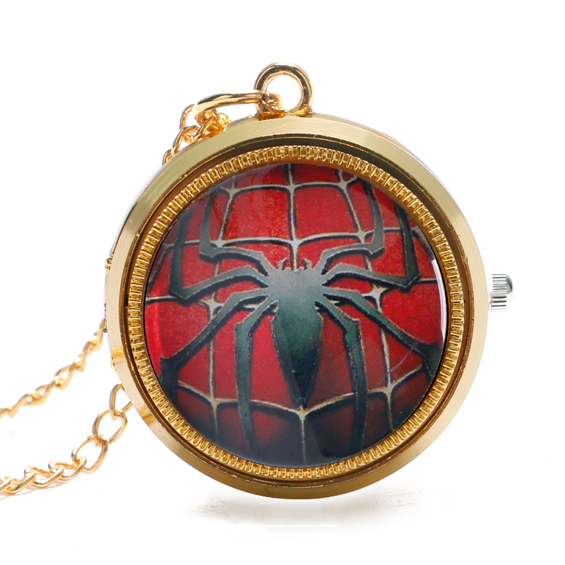 Mini Trendy Golden Cool Spider-Man Pocket Watch Necklace Pendant Boy Kids Gift Men Women Quartz Fob Clock Gift P1053