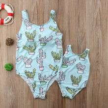Mother and Baby Girl Matching Cactus One Piece Swimsuit