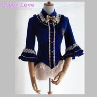 Sweet Lolita Blouse Chiffon Lace Bell Sleeve Small Dovetail Aureate Embroidery Droplight Lolita Shirt !