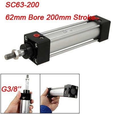 High Quality SC Standard Pneumatic Cylinder 63mm Bore 200mm Stroke Double Acting Air Cylinder Alloy high quality mechanical hand accessories satr holding cylinder mcd 10 belt detection switch star tower pneumatic clamp