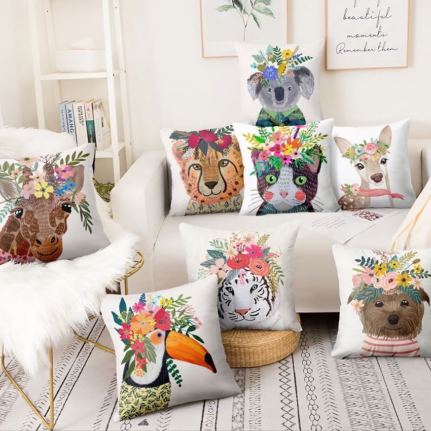 Fresh Cartoon Illustration Printed Pillowcase Cute Animal With Flowers Thin Linen Cushion Decorative Pillow Home Decor 45*45cm