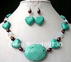 Bijoux 00204 En Forme de Coeur Turquoise avec Moonstone et Perle Accents, collier et Boucles D'oreilles (A0513)