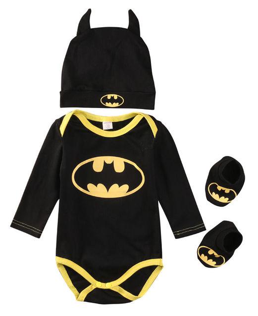 Лето 2017 г. Симпатичные Бэтмен новорожденных Для маленьких мальчиков младенческой Комбинезоны для малышек + Обувь + шляпа 3 шт. Комплект Одежда для маленьких мальчиков комплект