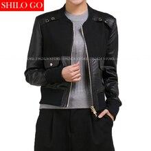 2017 autumn spring fashion new women high quality sheepskin stitching rivet square pockets round neck short black leather jacket