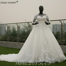 Real Photo 3/4 Sleeve Heavy Beading Modest Hand Made Wedding Dresses Ball Gown