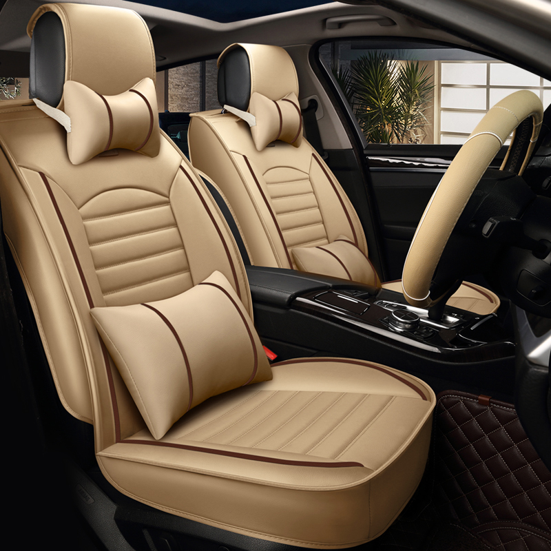 pu leather car seat cover four seasons universal luxury automobiles seat covers black blue beige. Black Bedroom Furniture Sets. Home Design Ideas