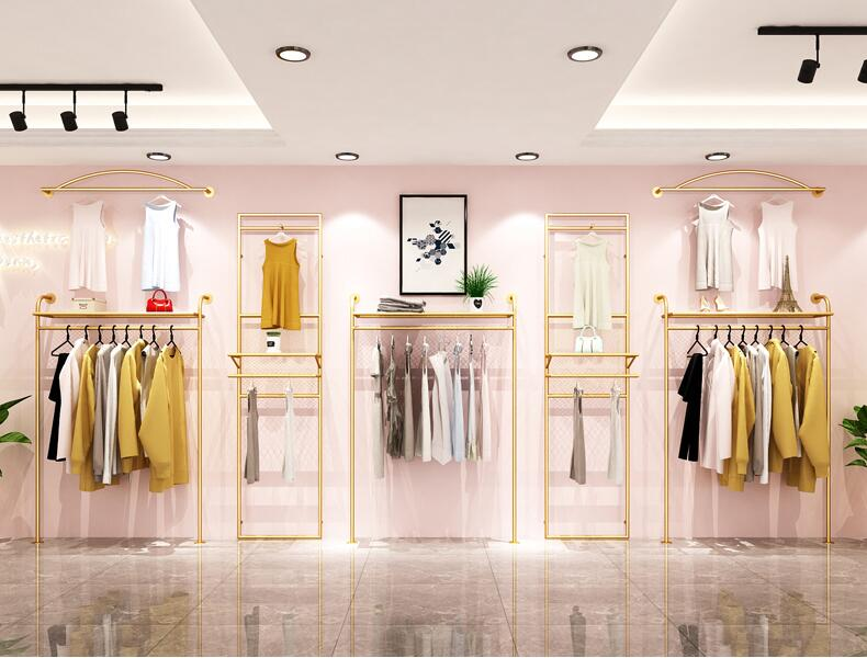 Clothing store rack display rack wall hanging double deck back hanging rack decoration of women 39 s clothing store rack gold in Storage Holders amp Racks from Home amp Garden