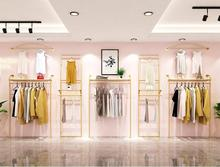 Clothing store rack display rack, wall hanging double-deck back decoration of womens clothing gold