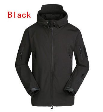 новый esdy водонепроницаемые дышащие на открытом воздухе акулы мягкая оболочка пальто куртка с капюшоном черный цвет