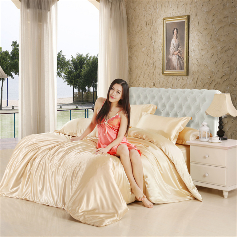 HOT 100 Pure Satin Silk Bedding Set Home Textile King Size Bed Set Bedclothes Duvet Cover Fitted Bed Sheet Pillowcases Bedding in Bedding Sets from Home Garden