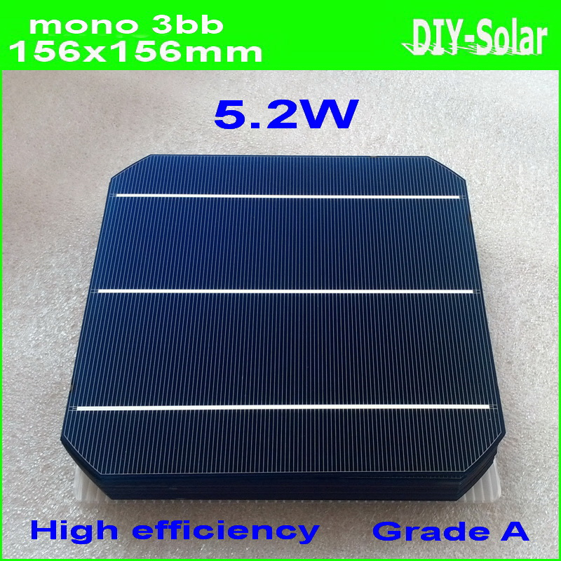 4.74W A++ 156mm monocrystalline Mono solar cell 6×6+enough PV Ribbon(50m Tab Wire+5m Busbar)+1pc flux pen for DIY 235w PV Panel