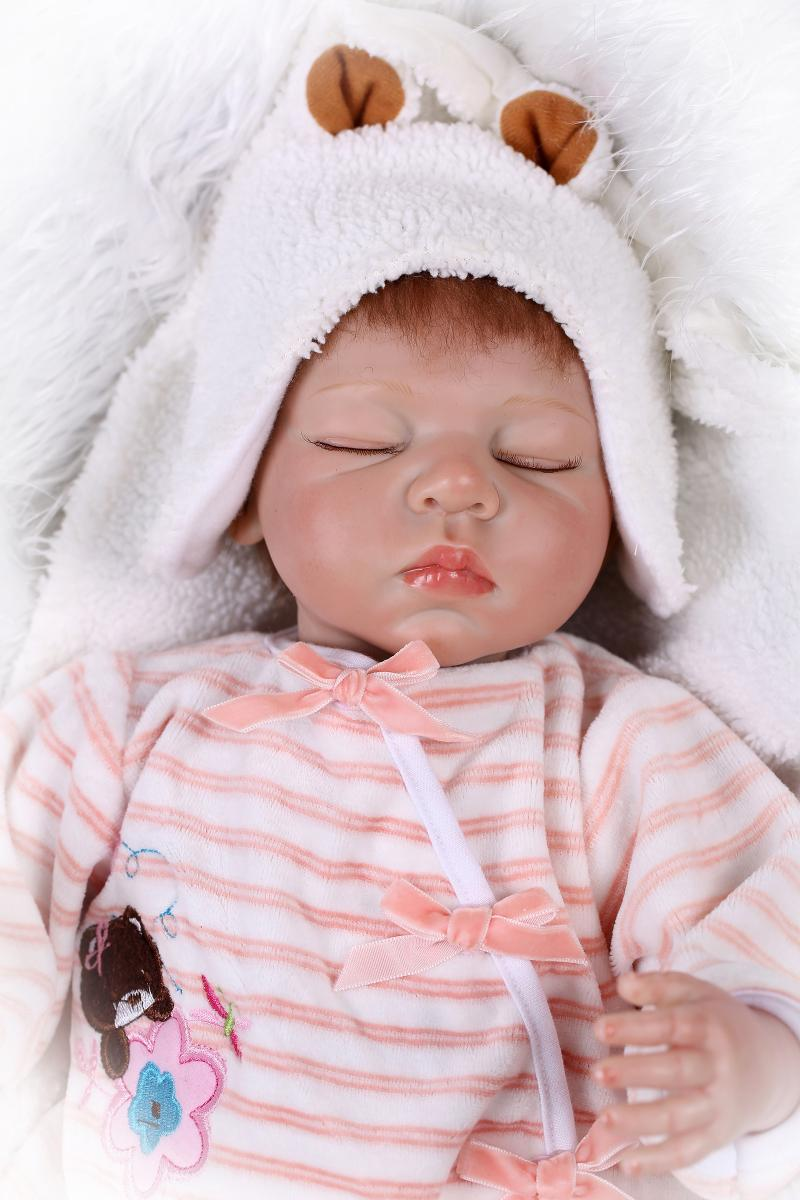 22 full silicone vinyl body reborn dolls baby reborn girl soft body best children sleeping boy gift toys brinquedos bonecas New 55cm Soft Silicone Reborn Baby Doll 22 Vinyl Body Girl Sleeping Brinquedos Dolls Bonecas Lifelike Newbabies Play House Toys