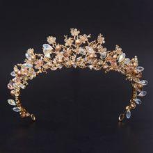 Nuevas Tiaras de corona con perlas de cristal para novia, diadema dorada clásica para mujer, accesorios para el cabello de boda
