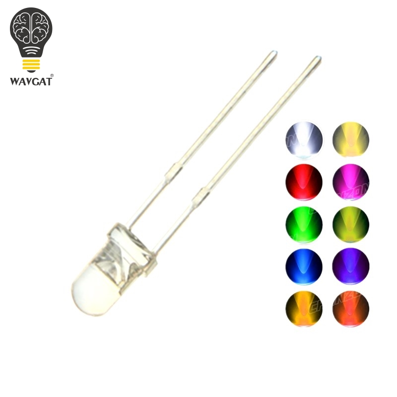 100PCS F5 <font><b>5MM</b></font> <font><b>LED</b></font> Diode Kit <font><b>3V</b></font> DIY Set Light Emitting Warm White Green Red Blue Yellow Orange Purple UV Pink Ultra Bright 20mA image