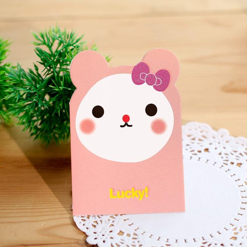 6pcs Lot Cute Animal Greeting Cards Birthday Festival Christmas