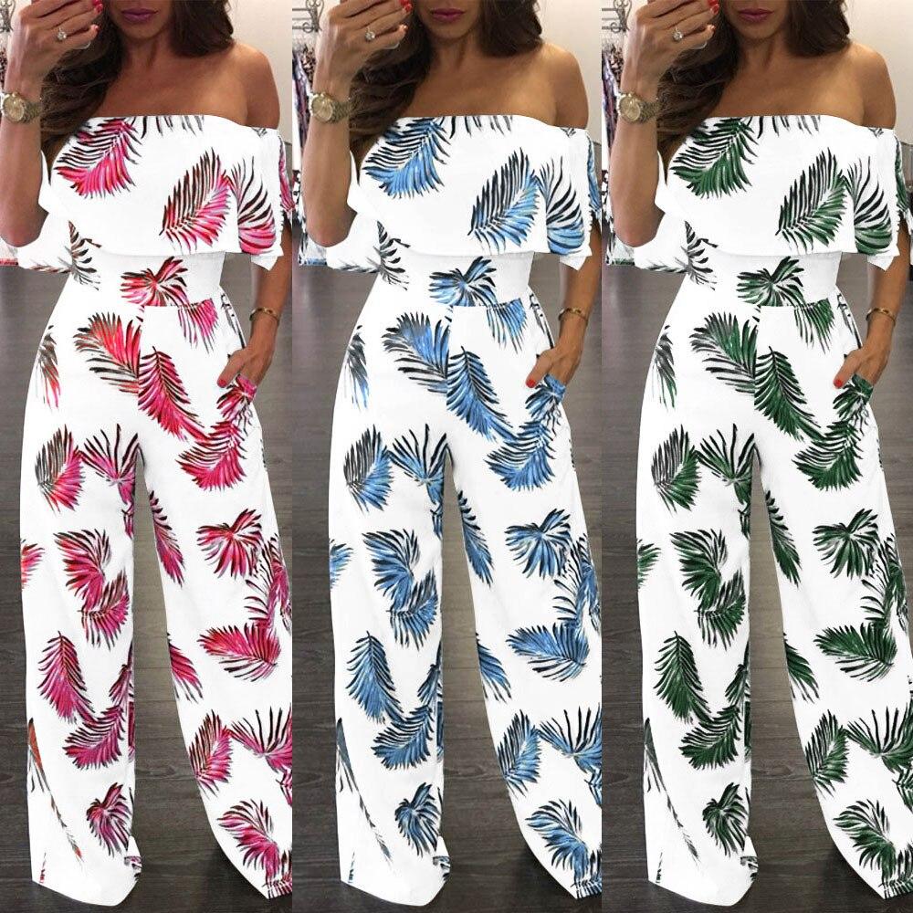 Shoulder floral   jumpsuit   summer clothes for women Floral Leaf Printed Sparkly Capelet Loose Playsuit combinaison fe#35#35
