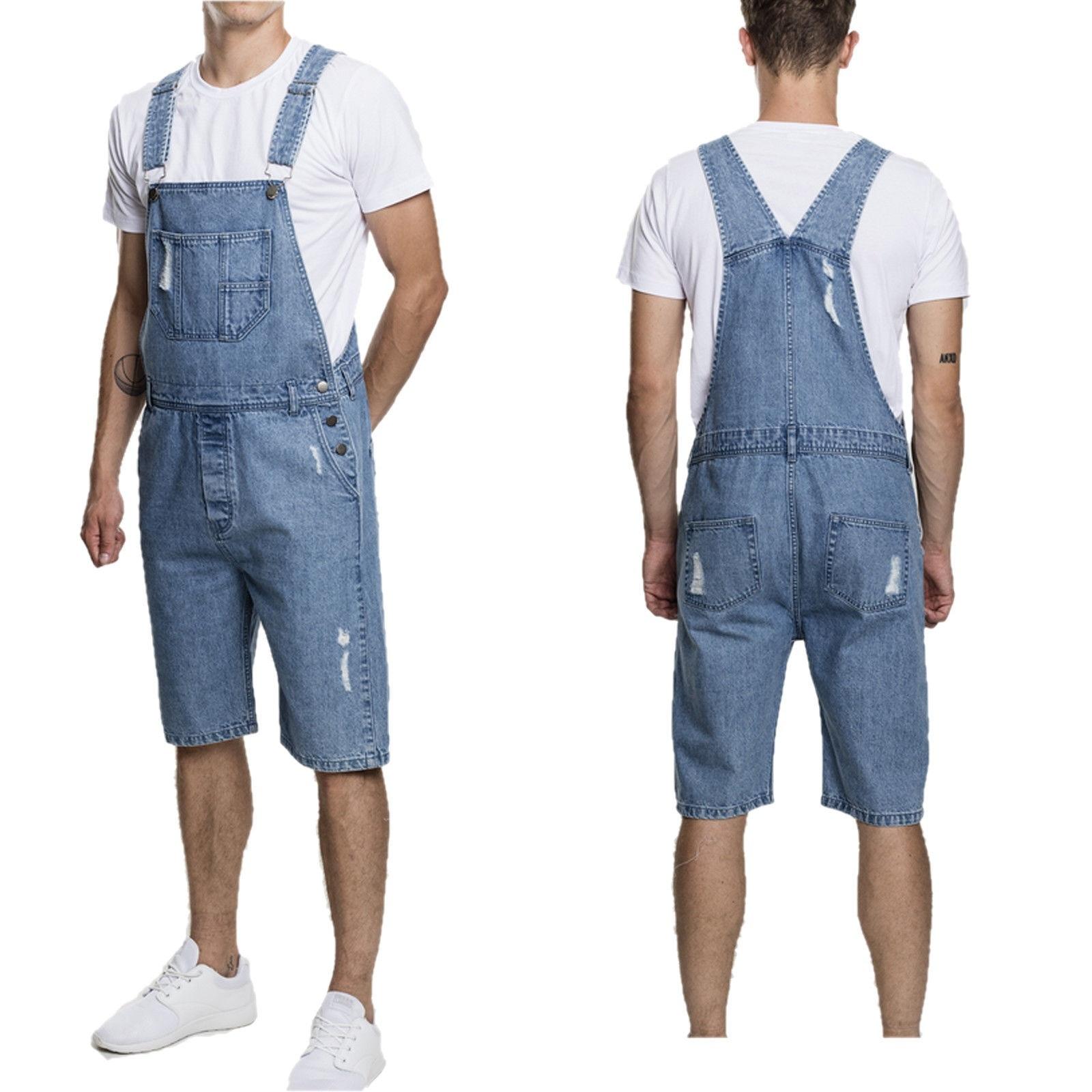 2019 Summer Men's Denim Sling Jumpsuit Men's Jeans Solid Bib Pants Men's Casual Jeans Overalls Mid Waist Male's Shorts D40