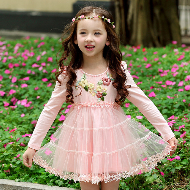 e7e658bf9 Girls Embroidered Net Yarn Princess Lace Dress 2018 New Autumn Baby ...