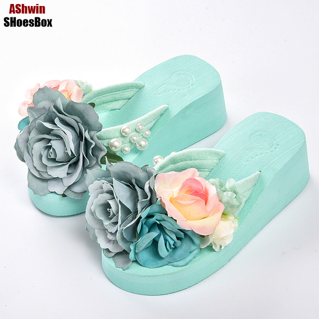 270dc66074464 summer women flip flops mules clogs wedge flower sandals garden shoes  handmade pearl slippers jelly color hawaiian beach sandals
