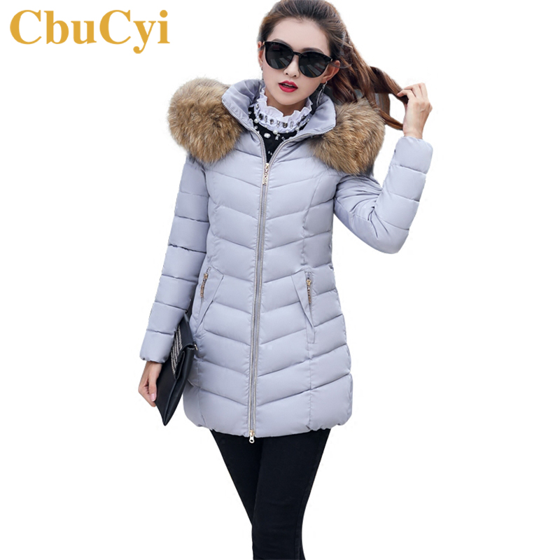 CbuCyi Winter New Big Fur Collar Overcoat Women Long Parkas Coat Plus Size Slim Warm Thick Plush Cotton Jacket Coat for Female women winter coat jacket warm woman parkas big fur collar female overcoat high quality thick cotton coat 2017 new winter parka