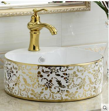 On The Ceramic Bowl Round Art Basin Lavatory Toilet Lavabo Coloured