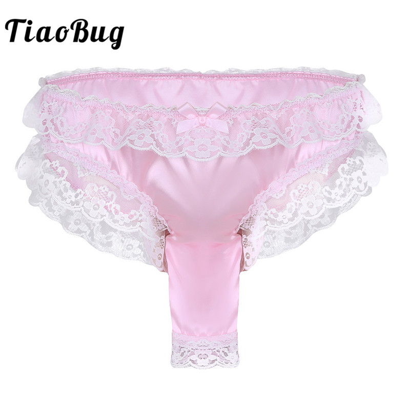 TiaoBug <font><b>Men</b></font> Soft <font><b>Shiny</b></font> Satin Floral Lace Frilly Open Penis Sheath Thong Briefs Tanga Hombre <font><b>Sexy</b></font> <font><b>Gay</b></font> <font><b>Underwear</b></font> Hot Sissy Panties image