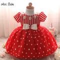 Айни Babe Красный Christmas Dress Новорожденного Ребенка Пачки Крещение Платья Малышей Девушки Крещение Платье Девочка 1 Год День Рождения Костюмы