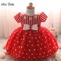 Aini Babe Red Christmas Dress Newborn Baby Tutu Baptism Dresses Toddler Girl Christening Gown Baby Girl 1 Year Birthday Outfits