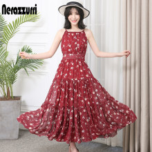 Nerazzurri summer dress women long maxi plus size floral elegant pleated chiffon beach spaghetti strap sundresses 2019 4xl 5xl(China)